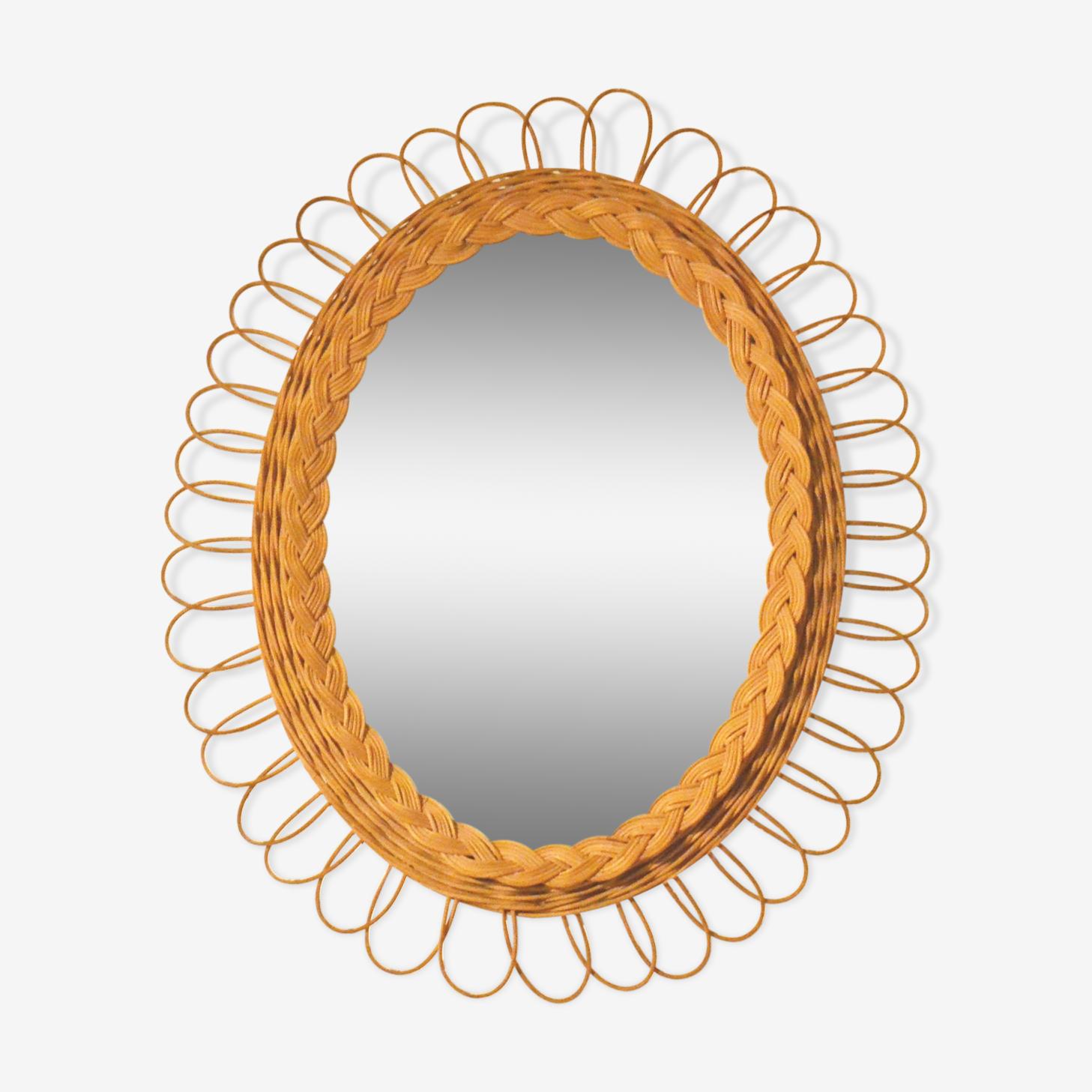 Miroir soleil rotin 45 x 36 cm