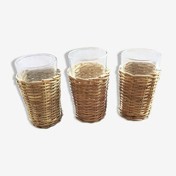 Série 3 verres osier