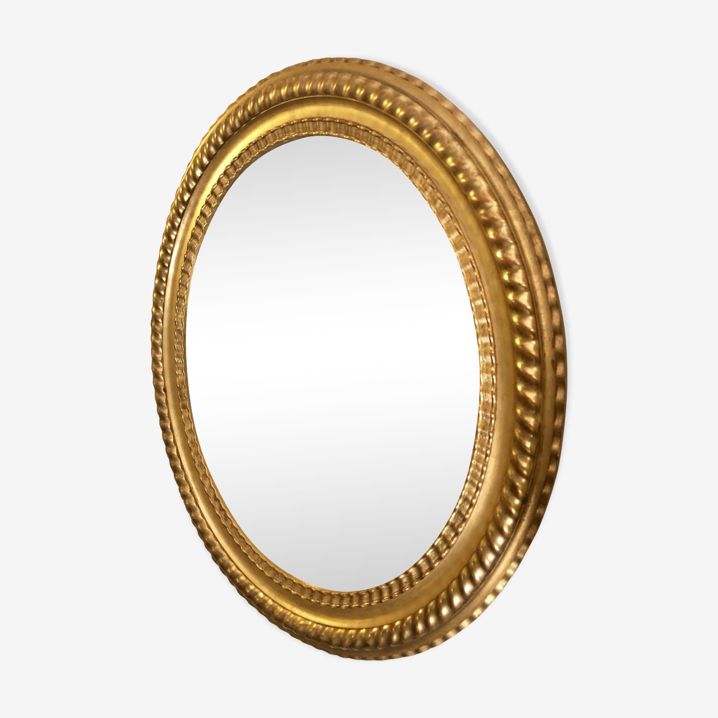 Miroir oval 82X72cm dorure feuille d or epoque XIX éme