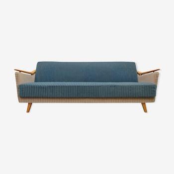 Canapé années 1950 en bleu et beige