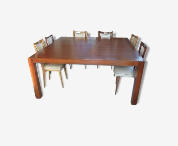 rare grande table carr e 12 personnes bois mat riau industriel 41043. Black Bedroom Furniture Sets. Home Design Ideas