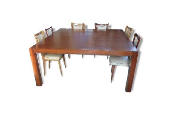 Rare grande table carr e 12 personnes bois mat riau for Table 12 personnes