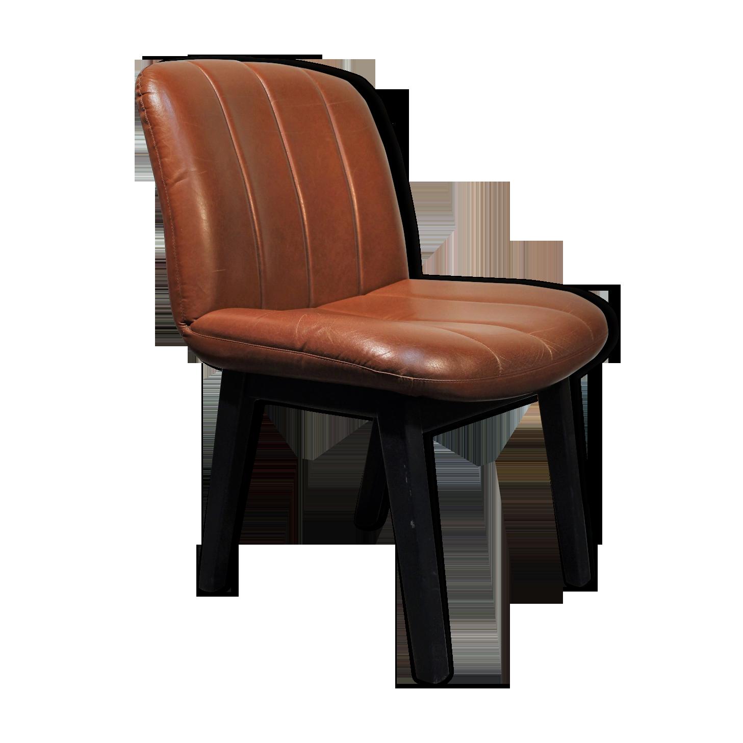 Chaise de bureau cuir bois cuir marron vintage mktcnhh