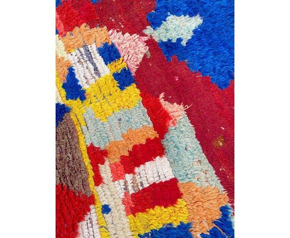 Tapis Berbère Boucherouite tissé a la main ancien 100x155 cm