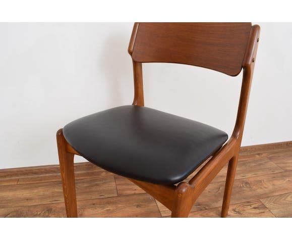 Ensemble de 4 chaises à manger danoises en teck et cuir du milieu du siècle par Erik Buch, années 1960