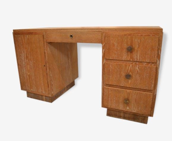 Ancien bureau art déco en chêne cérusé bois matériau bois