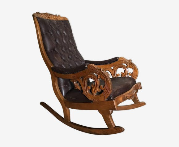 rocking chair en bois et cuir vers 1880 bois mat riau. Black Bedroom Furniture Sets. Home Design Ideas