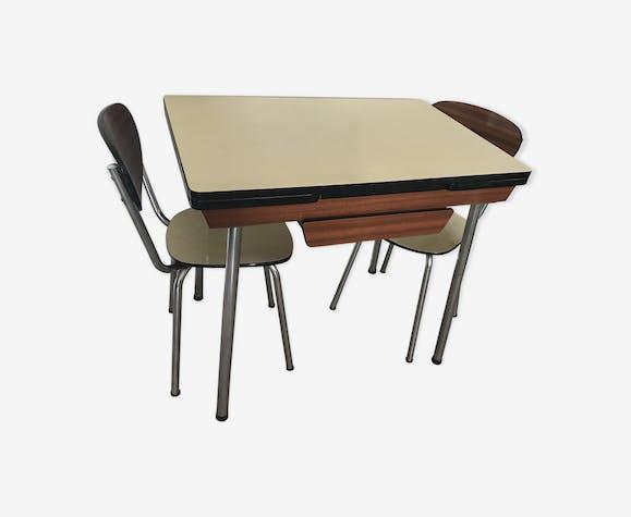 Table avec 2 rallonges et tiroir central formica années 1961