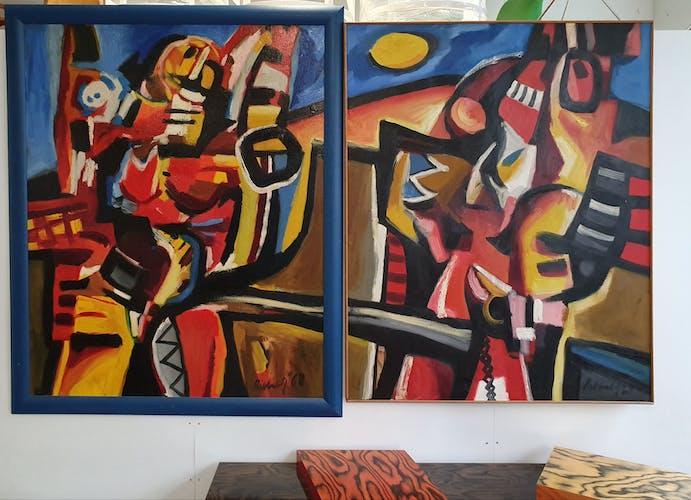 Peinture à l'huile de Dirk Jan Ribbeling sur la toile 1969 Amsterdam