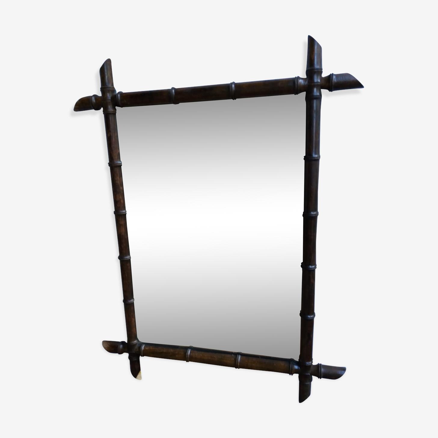 Miroir vintage en bambou 77,5 x 61 cm