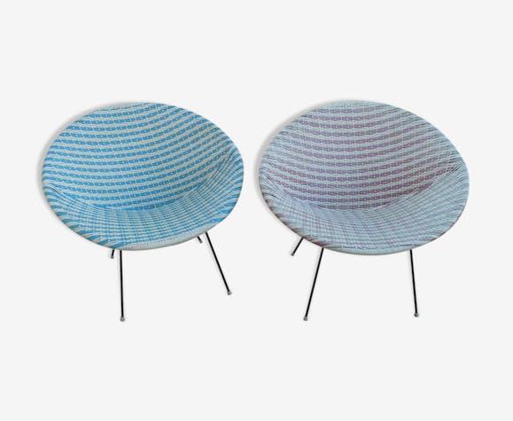 Paire fauteuils de jardin vintage - rotin et osier - rouge ...