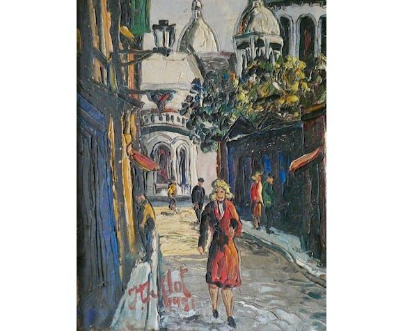 Tableau, huile sur toile, vue de Paris, rue du Chevalier de la Barre, années 50