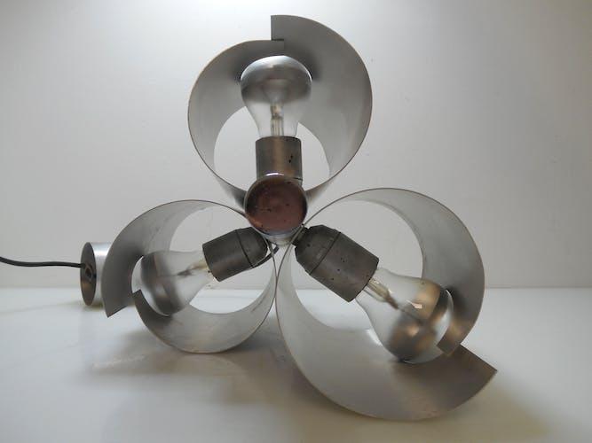 Suspension vintage 3 tubes alu brossé et ampoules chromées