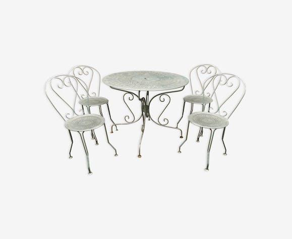 Ancienne table de jardin en fer et 4 chaise en fer - fer ...