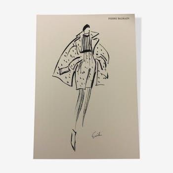 "Beautiful illustration mode vintage ""Pierre Balmain"" signed erick"