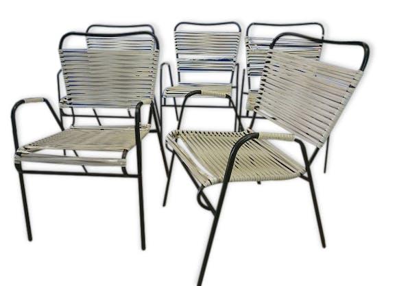 Fauteuil chaise vintage jardin scoubidou restaurer x 5 - Chaise scoubidou vintage ...