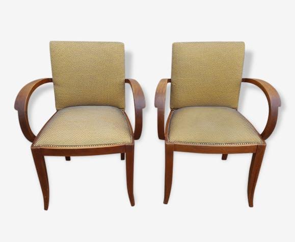 paire de fauteuils bridge art d co ann es 30 tissu jaune art d co 107374. Black Bedroom Furniture Sets. Home Design Ideas