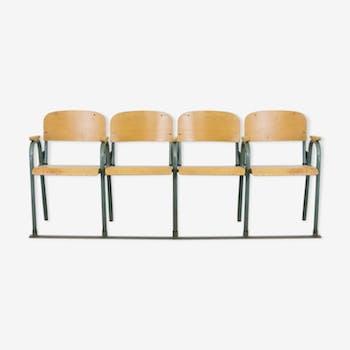 Industrial bench with 4 foldable seats
