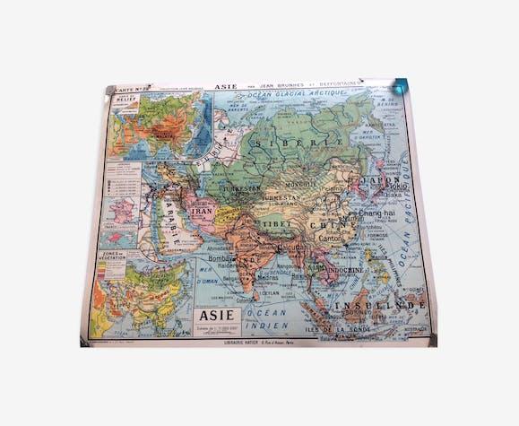 Carte école cartonnée ancienne Asie Jean Brunhes Deffontaines