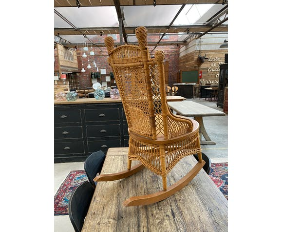 Rocking chair en osier