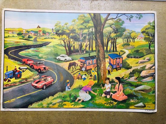 """Affiche """"le village/le printemps"""""""