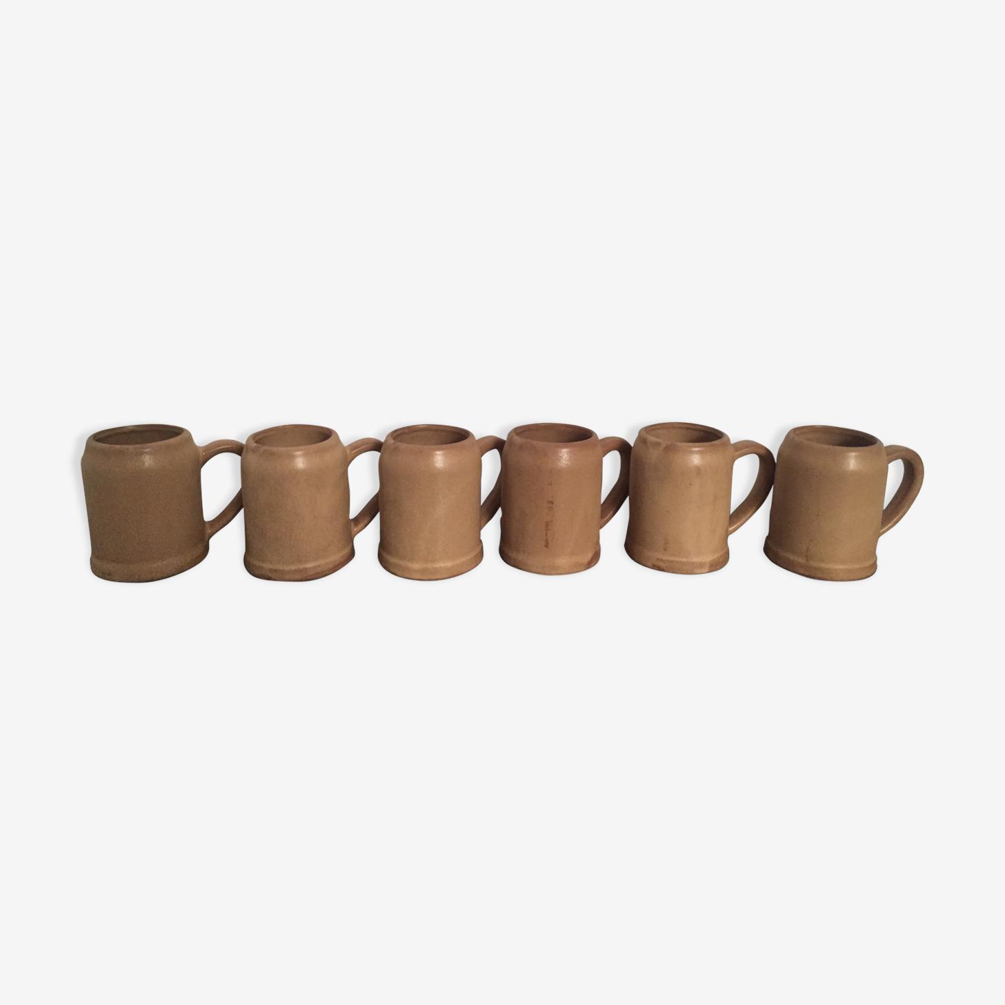 Lot de 6 mugs en grès