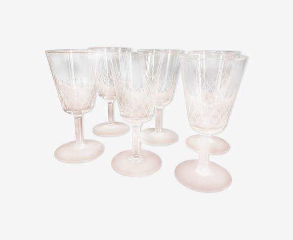 6 verres anciens cristal de type Baccarat gravés à la main années 50