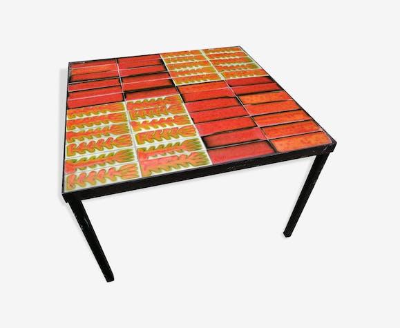 Table basse vintage 60 céramique colorées structure métal