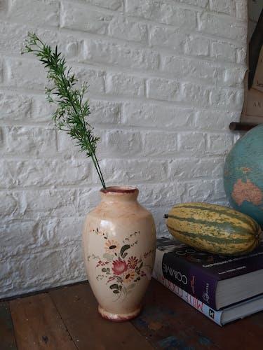 Hand-painted earthenware vase, floral decoration