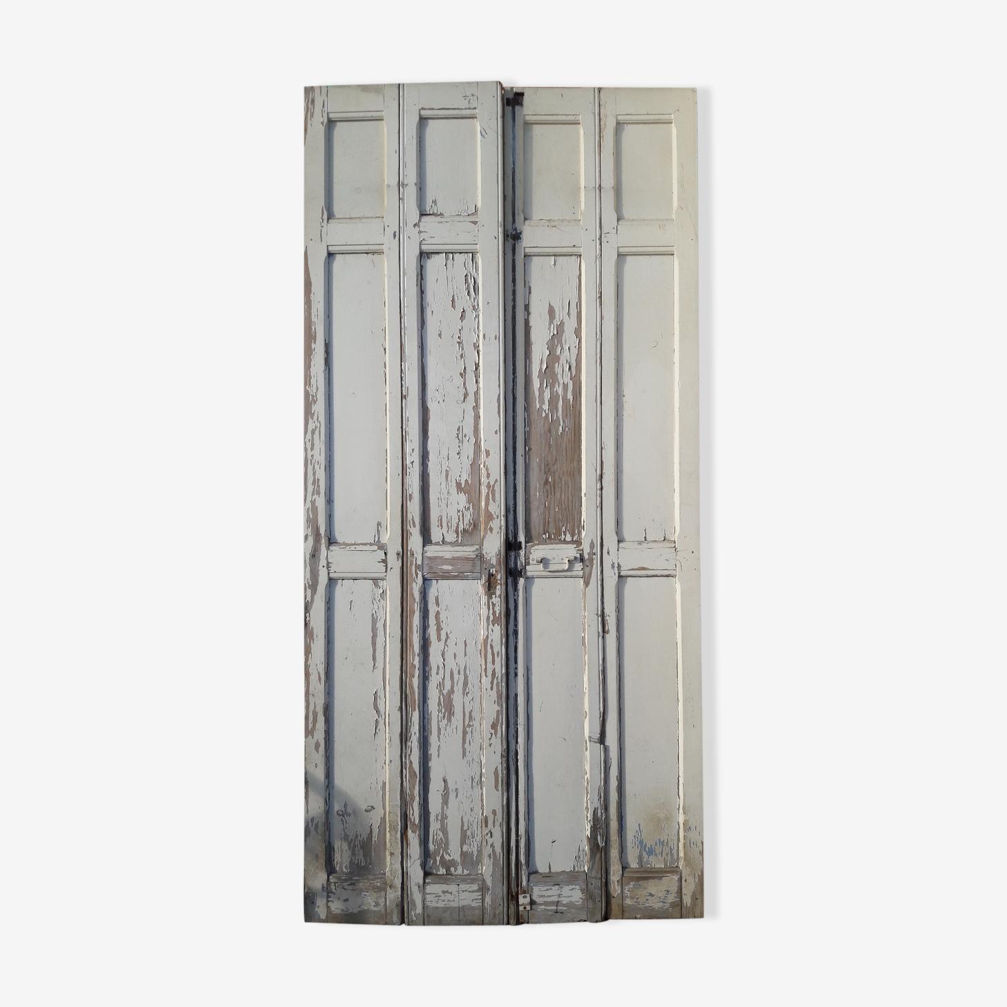 Ensemble de 4 volets boiseries bois peint ep 1940 H 229 cm