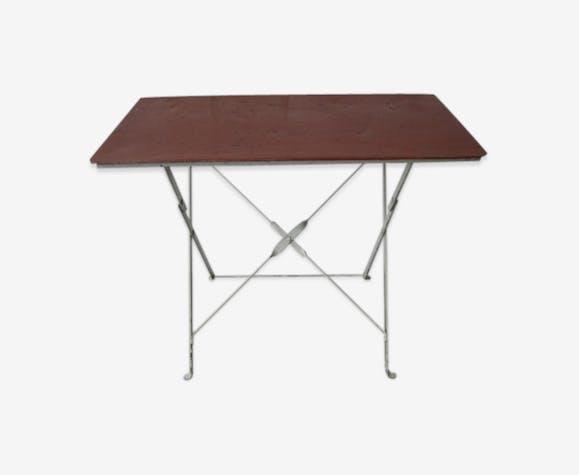 Table de jardin industrielle en acier - métal - rouge ...