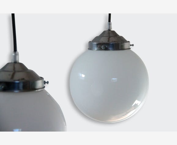 Lampe suspension ancien lustre abat jour globe en verre opaline boule blanche diam tre 20 cm - Douille pour lustre ancien ...