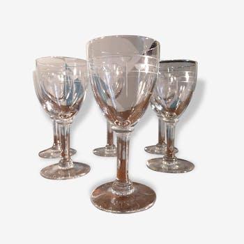 Service de 6 petits verres à pieds, début 20ème siècle