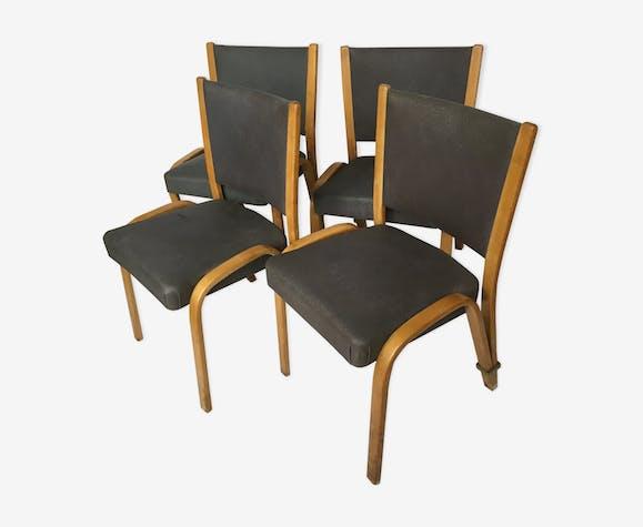 4 Chaises Steiner modèle Bow-wood