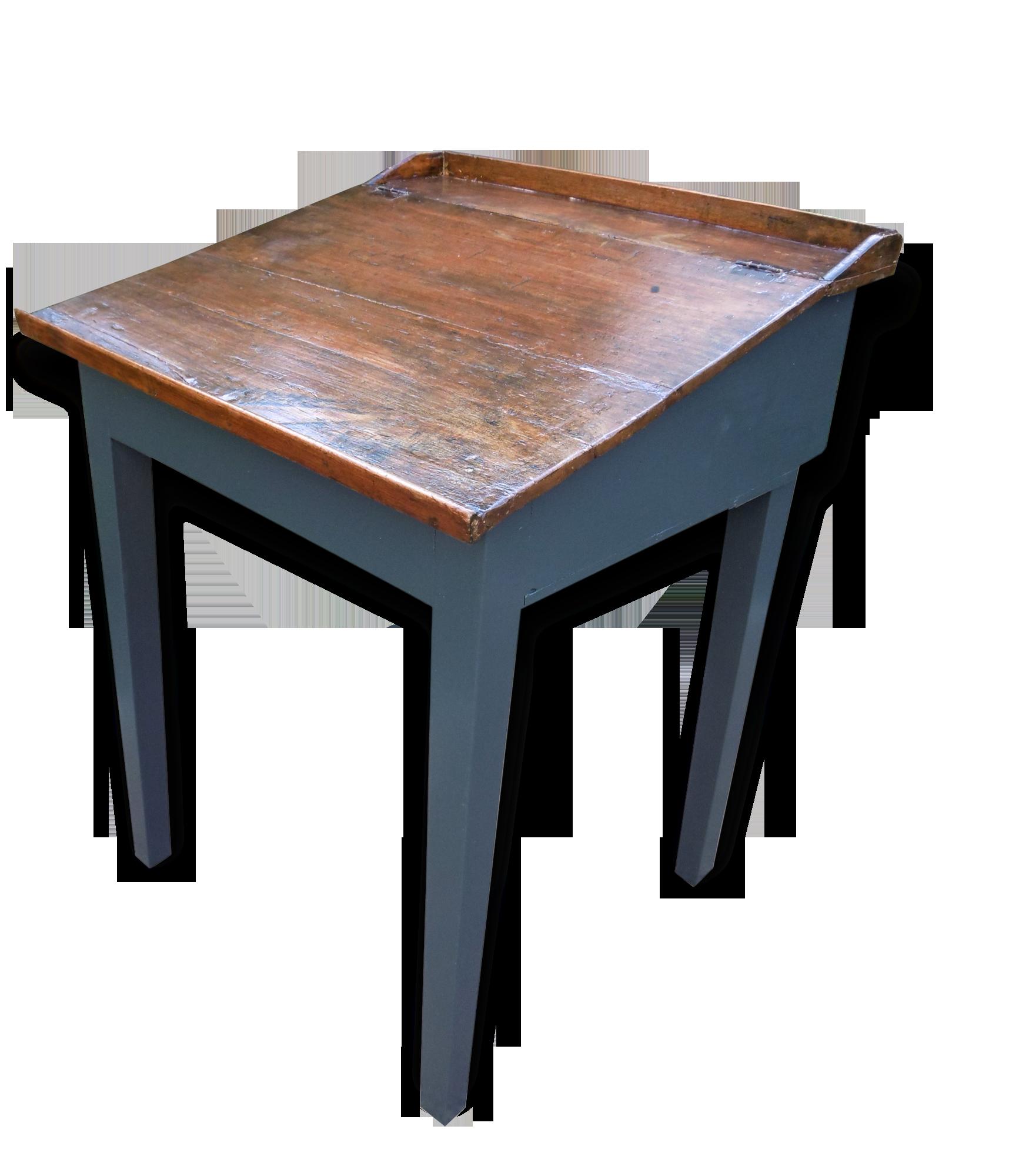 Bureau pupitre en bois peint bronze noir classique
