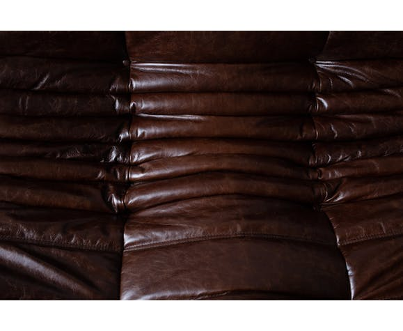 3 seater Togo brown leather sofa by Michel Ducaroy for Ligne Roset