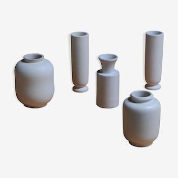 Carrara Vases by Wilhelm Koge for Gustavsberg, 1940s, Set of 5