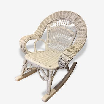 Child rocking chair rattan white
