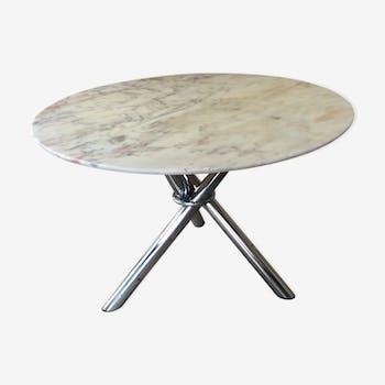 Table design vintage années 70 marbre et pieds chromé
