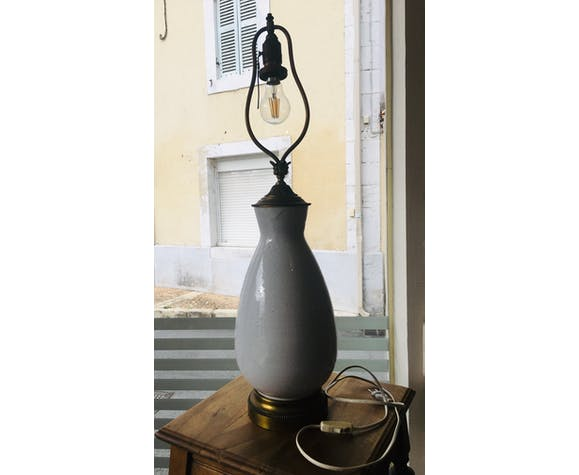 Lampe à tirette en porcelaine et laiton