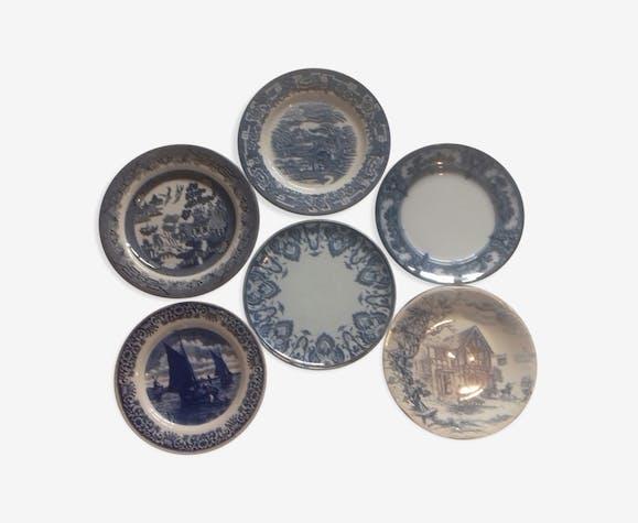 Suite de 6 assiettes bleu indigo