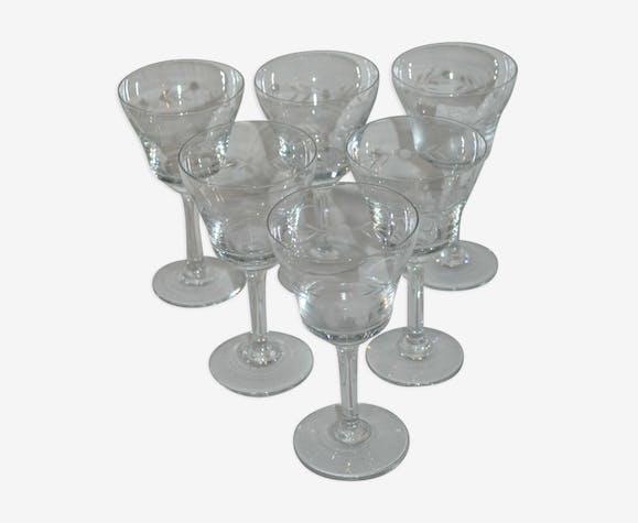 Ensemble complet 6 verres gravés vintage