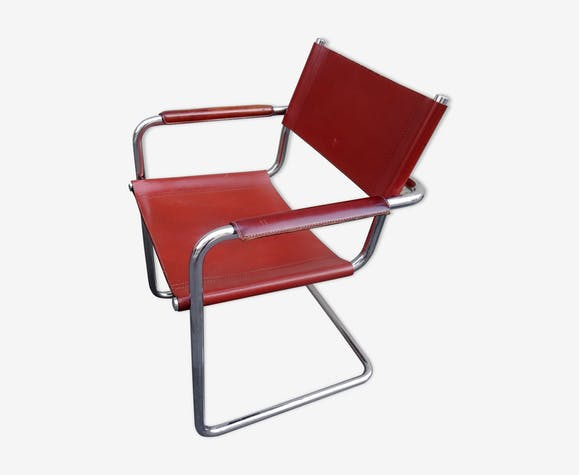 Vintage armchair leather and chrome, Matteo Grassi