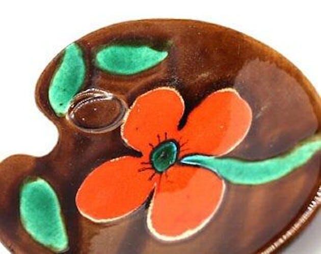Vide poche en céramique avec fleur