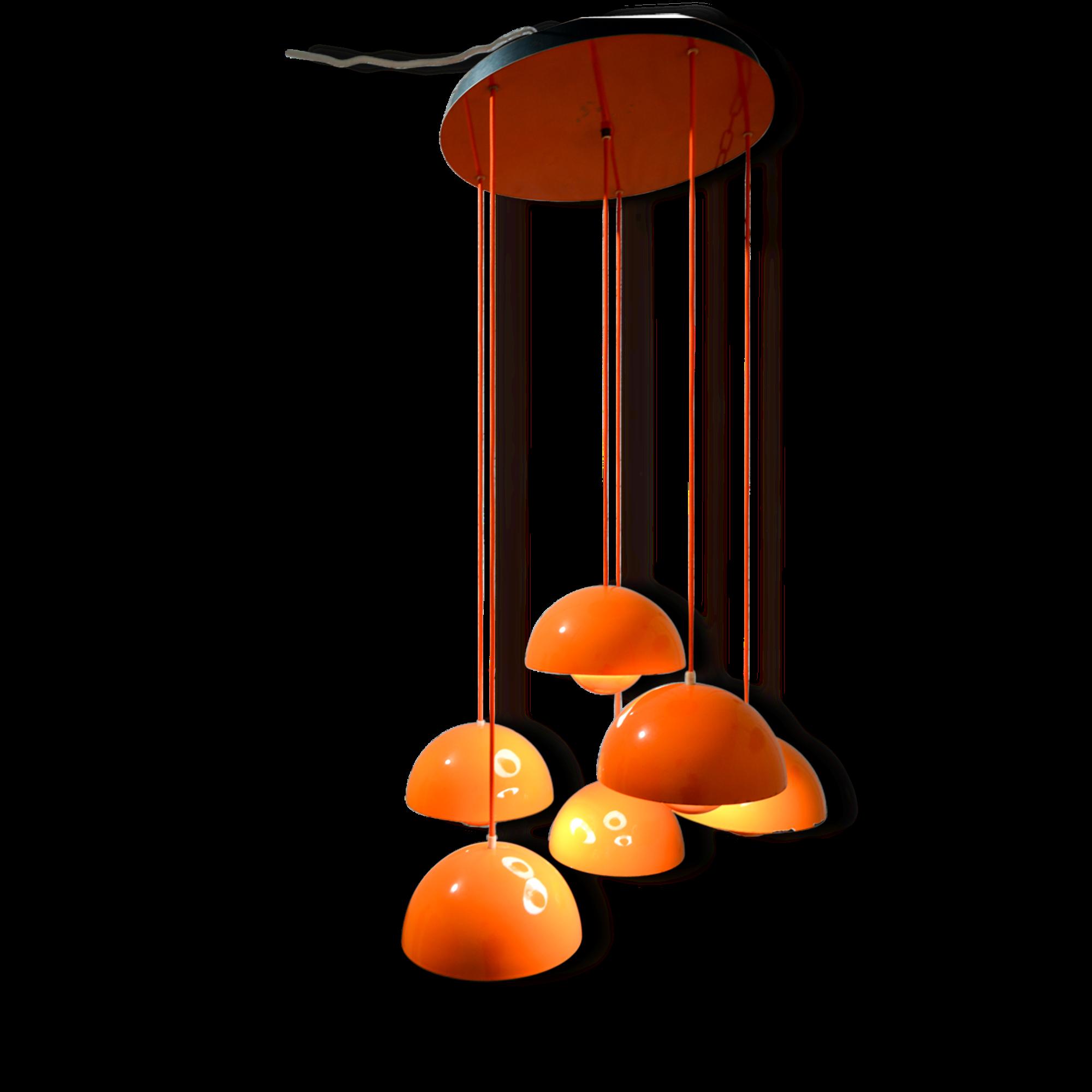 Suspension flower pot verner panton orange, ed poulsen.
