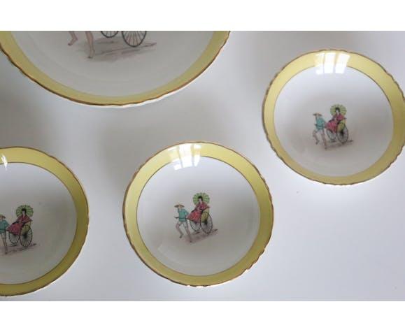 Coupe à dessert et saladier vintage Ceranord - 6 pièces (5 + 1) - Semi Porcelaine Française de la fi