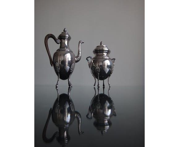 Ancienne théiere et sucrier en métal argenté poinçon style empire début XXème