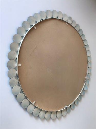 Miroir métal fleur vintage années 60 70