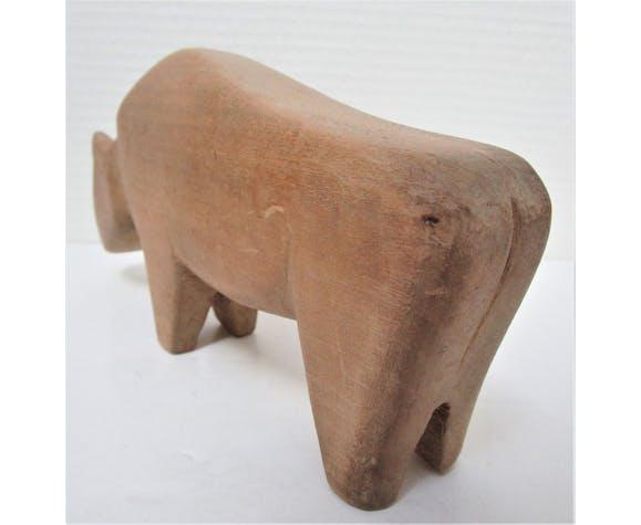 Quatre animaux bois jouet vintage taureaux oie bouquetin