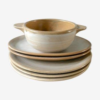 Set de 3 assiettes, 2 raviers et 1 bol Niderviller, modèle pierre